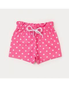 Short Rosa com Bolinhas Brancas para Bebê Menina
