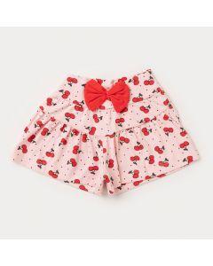 Short para Bebê Menina Rosa Cereja com Laço