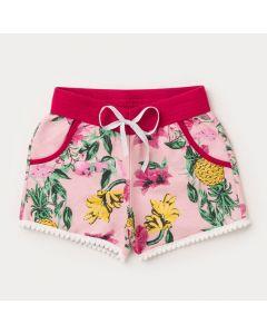 Short Rosa Infantil Feminino Floral