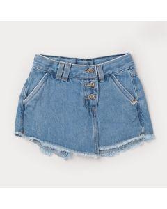 Short Saia Jeans Azul com Bolso Infantil Feminino