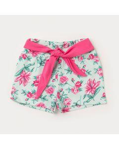 Short para Menina Verde Flores com Amarração Rosa