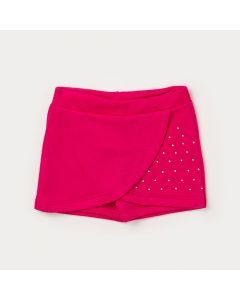 Short Saia Infantil com Strass Pink