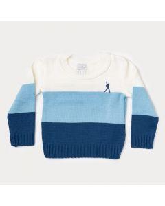 Suéter Bebê Menino Azul Claro e Branco