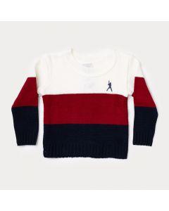 Suéter Bebê Menino Vermelho e Branco