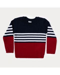 Suéter Infantil Vermelho e Azul Marinho para Menino