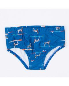Sunga Azul para Menino Cachorrinho com Proteção UV 50+