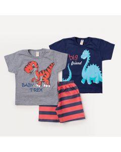 Conjunto 2 Camisetas Infantis com Estampa de Dinossauro e 1 Bermuda Laranja