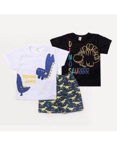Conjunto Infantil 1 Bermuda Azul e 2 Camisetas Masculinas com Estampa de Dinossauro