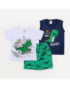 Conjunto de Roupa para Criança 2 Camisetas Dinossauro e 1 Bermuda Verde Estampada Menino