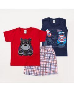 Conjunto Infantil Menino 2 Camisetas Estampadas e 1 Bermuda Branca Listrada