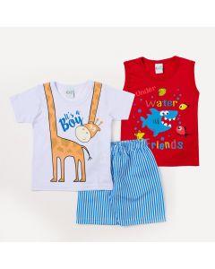 Conjunto 2 Camisetas Menino Estampada e 1 Bermuda Azul Listrada