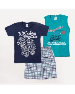 Conjunto 2 Camisetas Azuis Estampadas e 1 Bermuda Branca Xadrez Menino
