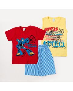 Conjunto de Roupa para Criança 2 Camisetas Estampadas e 1 Bermuda Listrada Menino