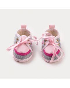 Tênis Cinza para Bebê Menina Coração Rosa
