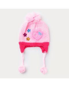 Touca Rosa Aviador para Bebê Menina em Tricô com Aplique de Coração