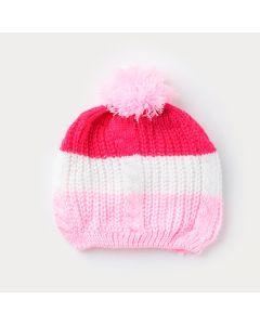 Touca Pink com Rosa em Tricô para Bebê Menina