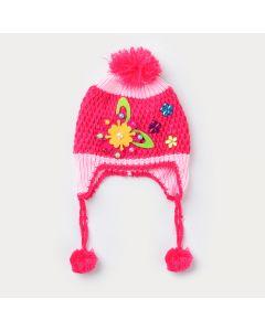 Touca Aviador Pink para Bebê Menina em Tricô com Aplique de Flor