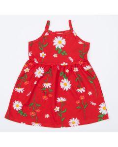 Vestido de Alcinha Vermelho Florzinhas Infantil