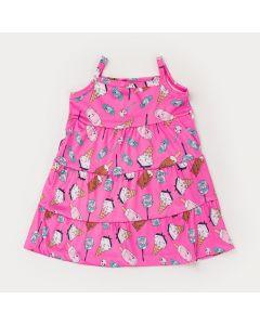 Vestido de Alcinha Pink Infantil Sorvetinhos com Babado