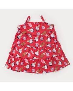 Vestido de Alcinha Vermelho Infantil Sorvetinhos com Babado