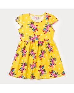 Vestido Infantil Amarelo com Estampa de Flores