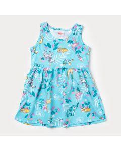 Vestido Azul Claro para Bebê com Estampa de Bichinho