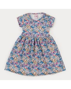 Vestido com Flores Azuis Infantil Feminino