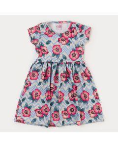 Vestido Florido Infantil Feminino Azul