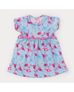 Vestido Curto Azul com Estampa de Flamingo e Cinto Rosa Infantil