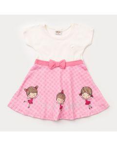 Vestido para Bebê Menina Marfim com Laço na Cintura