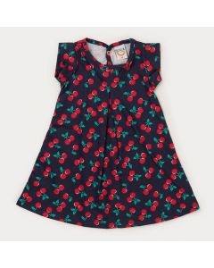 Vestido para Bebê Menina Marinho Cereja
