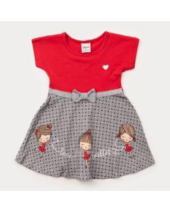 Vestido para Bebê Menina Vermelho com Laço na Cintura
