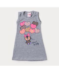 Vestido para Bebê Mescla com Estampa de Coração
