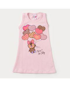 Vestido Rosa para Bebê com Estampa de Coração