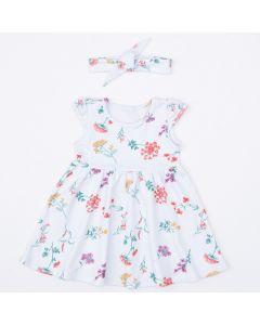 Vestido com Faixa de Cabelo Branco Floral para Bebê Menina