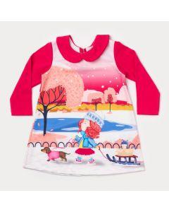 Vestido Pink de Bebê Manga Longa com Estampa