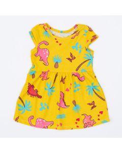 Vestido Amarelo para Bebê Dinossauro