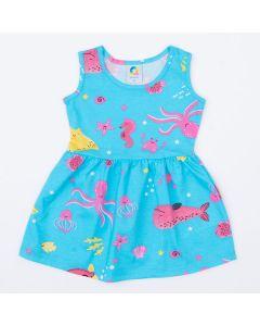 Vestido para Bebê Azul Fundo do Mar