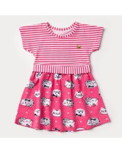 Vestido para Bebê Menina Rosa Listrado com Estampa de Gatinho