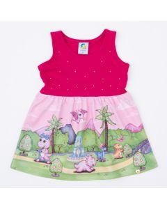 Vestido Pink Dinossauro para Bebê