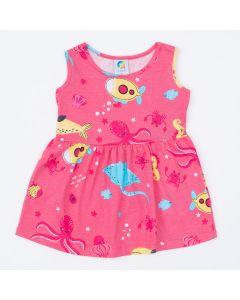 Vestido para Bebê Rosa Peixinhos