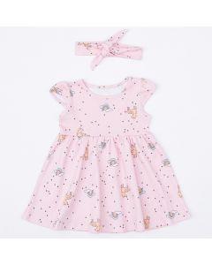Vestido com Faixa de Cabelo Rosa Unicórnio para Bebê Menina