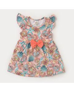Body Vestido Salmão para Bebê Menina Conchas