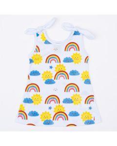 Vestido Branco para Bebê Menina Arco-Íris