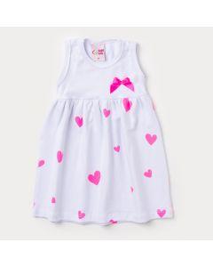 Vestido Branco para Bebê com Estampa de Coração e Aplique