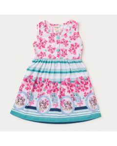 Vestido Branco Floral para Menina