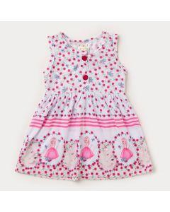 Vestido Regata Branco para Bebê Menina com Flores Rosa