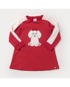 Vestido de Inverno Vermelho Cachorrinho Peluciado para Menina