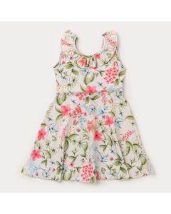 Vestido Floral Cinza Infantil Feminino Detalhe nas Costas