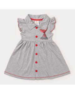 Vestido Gola Polo Cinza para Menina Sereia